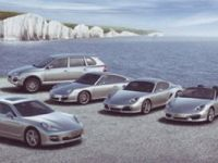 Porsche brochures and postcards